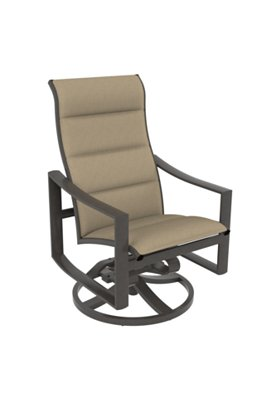 padded sling high back patio swivel rocker