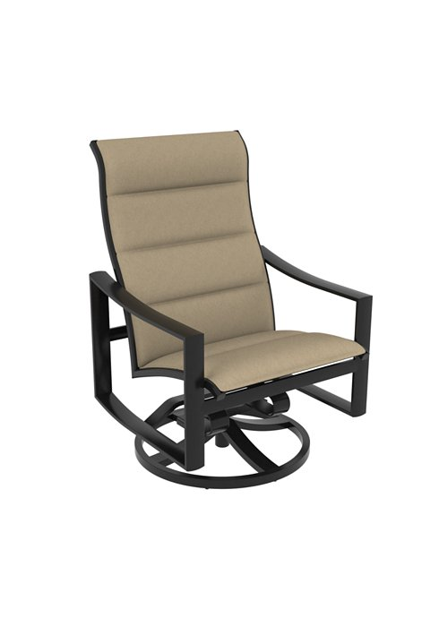 patio padded sling swivel action lounger