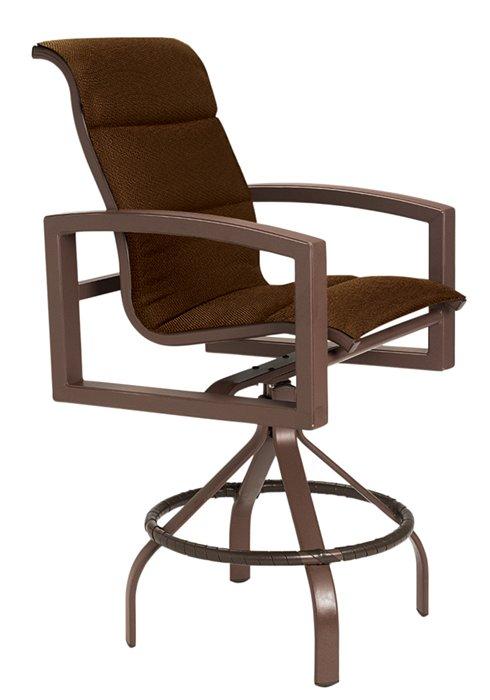 padded sling patio swivel bar stool