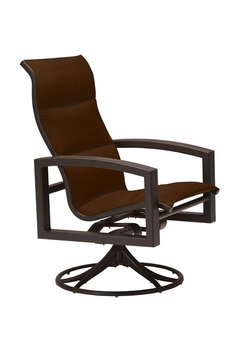 padded sling patio high back swivel rocker