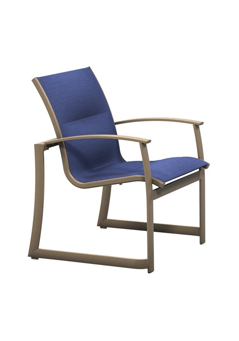 high back padded sling patio dining chair