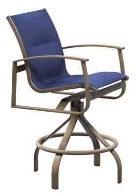 padded sling outdoor swivel bar stool