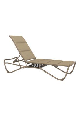 padded sling patio armless chaise lounge with shelf