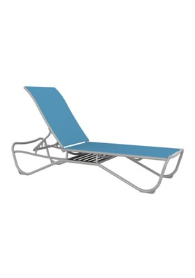 relaxed sling patio arnless chaise lounge with shelf