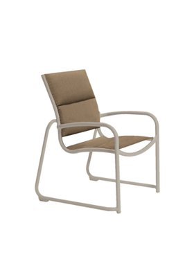 outdoor padded sling dining chair sled base