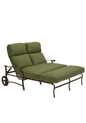 cushion patio double chaise lounge with wheels
