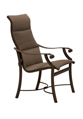 padded sling outdoor dining chair high back