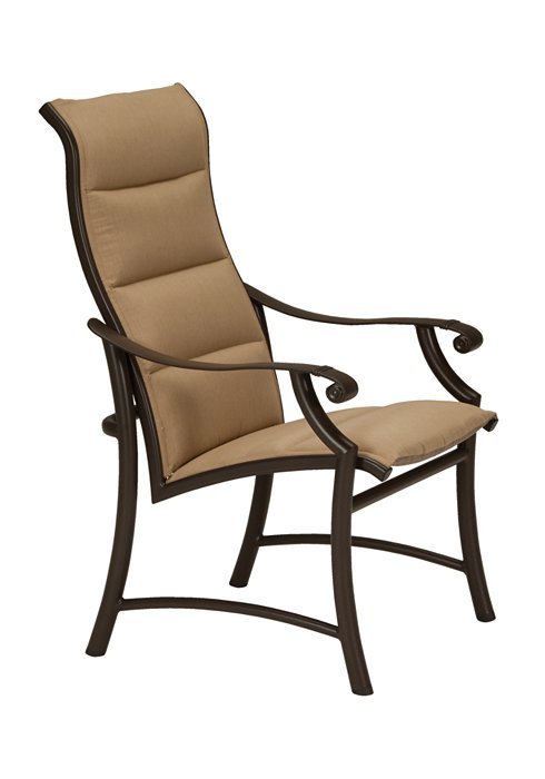 high back padded sling dining chair patio