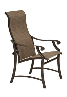 outdoor sling dining chair high back