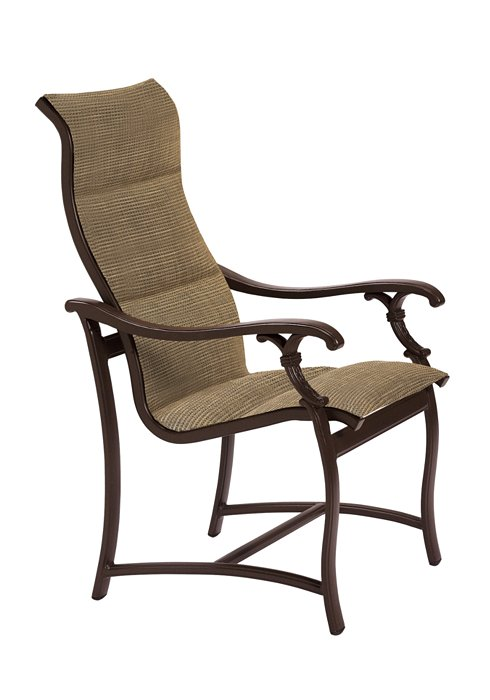 padded sling outdoor high back dining chair