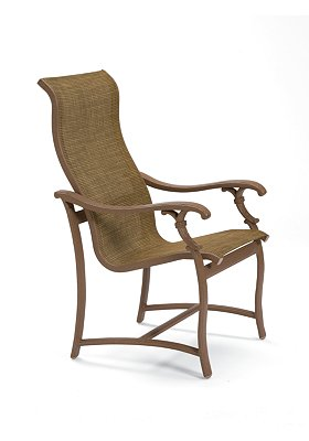 high back sling patio dining chair