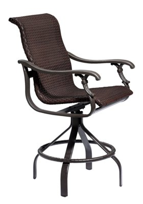 patio woven bar stool swivel