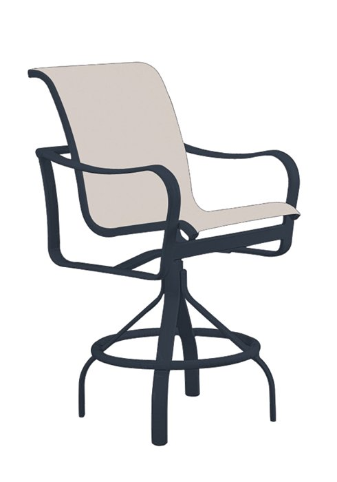 modern sling outdoor swivel bar stool
