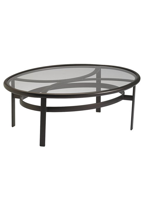 patio glass elliptical coffee table
