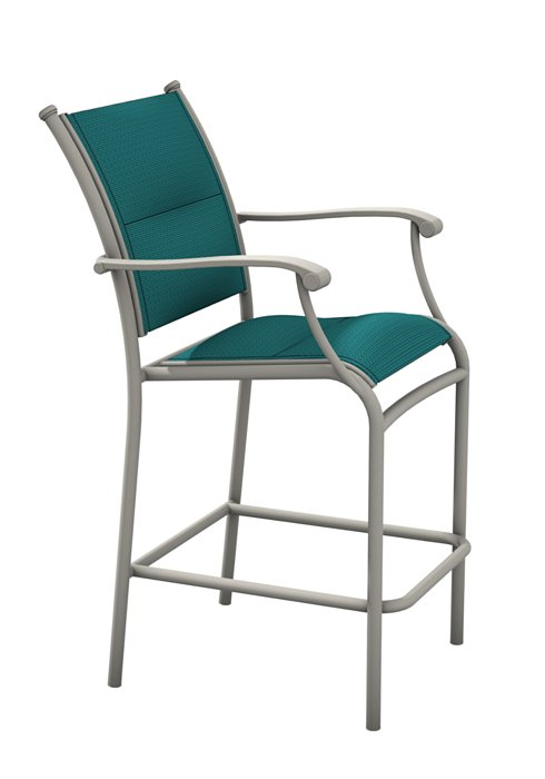 padded sling stationary bar stool for outdoor