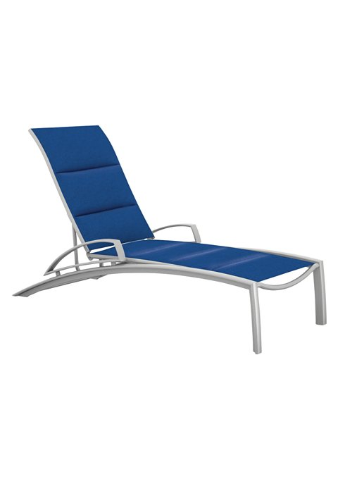 padded sling outdoor chaise lounge with arms