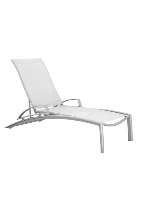 relaxed sling patio chaise lounge with arms