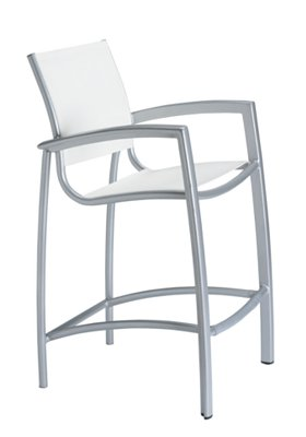 modern relaxed sling patio stationary bar stool