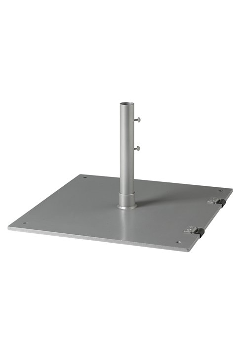 "Steel Plate Base, 24"" Square, 2"" Pole, Free Standing w/ Wheels"