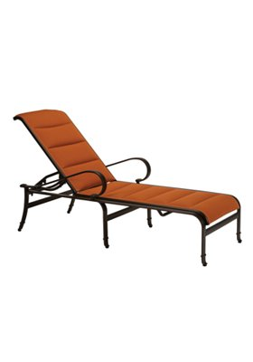 outdoor modern padded sling chaise lounge