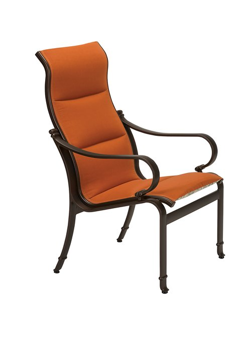 padded sling outdoor dining chair with high back
