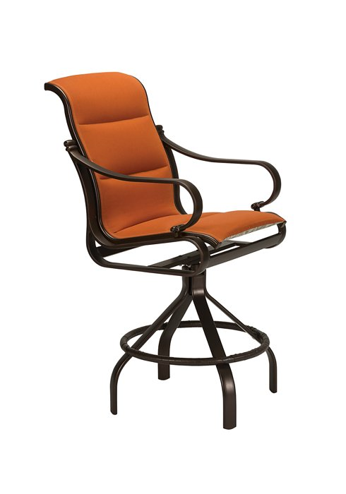 patio padded sling modern swivel bar stool