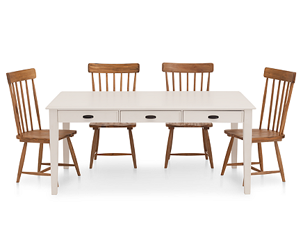 Magnolia Home 5 Pc. Farmhouse Dining Room Set with 6\' White Table ...