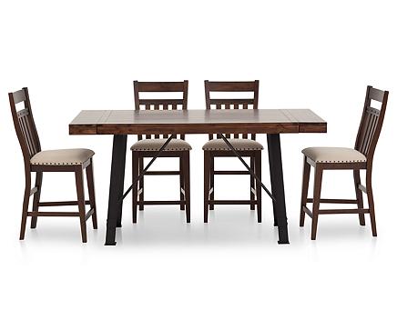Urban Lodge 5 Pc Slat Back Counter Height Dining Room Set Furniture Row