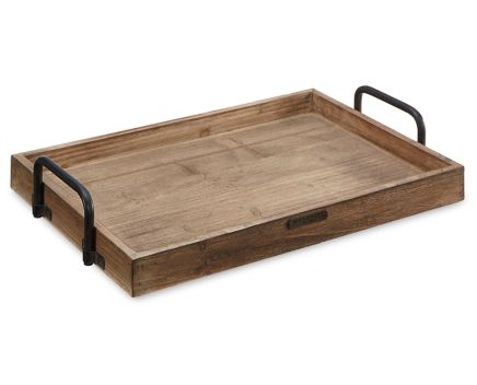 Attractive Magnolia Home Rectangular Wood Tray with Metal Handle - Furniture Row FZ51
