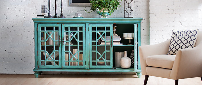 Teal Cabinet Living Room