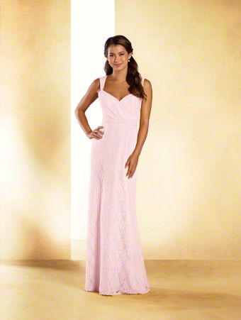 A long princess bridesmaid dress with sweetheart neckline, cap sleeves, sheer back yoke, and A-line skirt.
