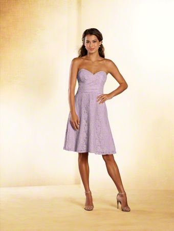 A short princess bridesmaid dress with strapless, sweetheart neckline, draped bodice, and A-line skirt with pockets.