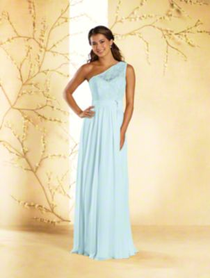 A princess bridesmaid dress with sweetheart neckline, single shoulder strap, natural waist, and full-length skirt.