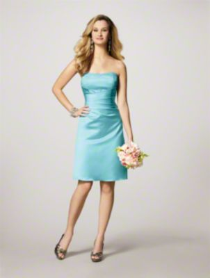 A Short Bridesmaid Dress with an A-Line Silhouette, Cocktail-Length Skirt, Draped Bodice, and Crystal Beading on the Strapless Neckline