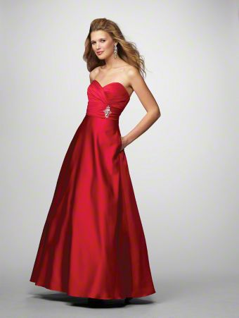 A Long Bridesmaid Dress with a Floor-Length Ball Gown Silhouette, Rhinestone Brooch, and Strapless Sweetheart Neckline