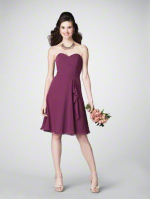 A Short Chiffon Bridesmaid Dress with a Flared Cocktail-Length A-Line Skirt, Fitted and Ruched Bodice, and Strapless Sweetheart Neckline