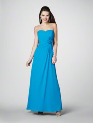 A Long Bridesmaid Dress with a Floor-Length A-Line Silhouette Skirt, Ruched Bodice, Corset Style Back, and Strapless Sweetheart Neckline