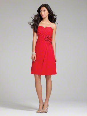 A Short Chiffon Bridesmaid Dress with a Cocktail-Length A-Line Skirt, Ruched Bodice with Floral Side Decal, and Strapless Sweetheart Neckline