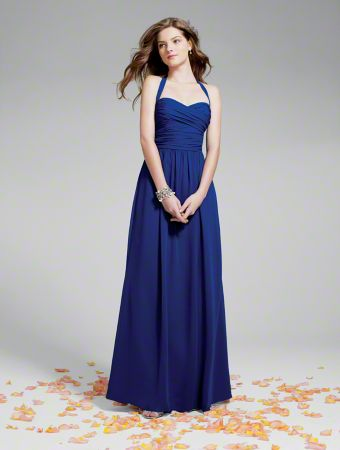 A Long Chiffon Bridesmaid Dress with a Floor-Length A-Line Silhouette, Natural Waist with Cross-Draped Sweetheart Bodice and Halter Straps