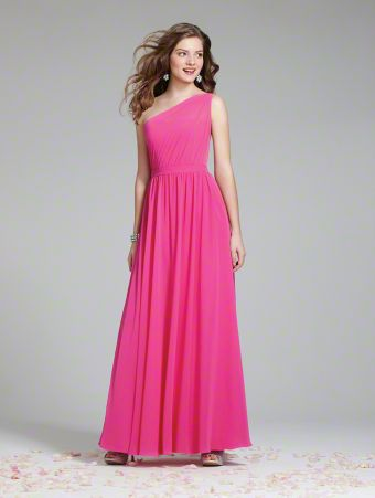 A Long Draped Chiffon Bridesmaid Dress with a Full-Length A-Line Skirt, Single-Shoulder Pleated Bodice Joined at the Wrapped Waist