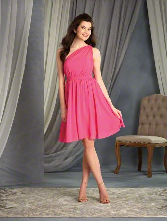 A Short Chiffon Bridesmaid Dress with a Cocktail-Length A-Line Skirt, Natural Waist with Pleated Bodice, and One-Shoulder Neckline