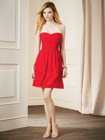 A Chiffon Bridesmaid Dress with a Draped Cocktail-Length A-Line Silhouette Skirt, Natural Waist with Gathers, and a Strapless, Sweetheart Neckline