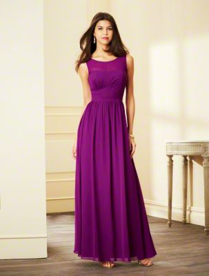 A Chiffon Bridesmaid Dress with a Floor-Length A-Line Skirt, Fitted & Shirred Bodice, Illusion Yoke over Scooped Neckline and Tank-Style Straps