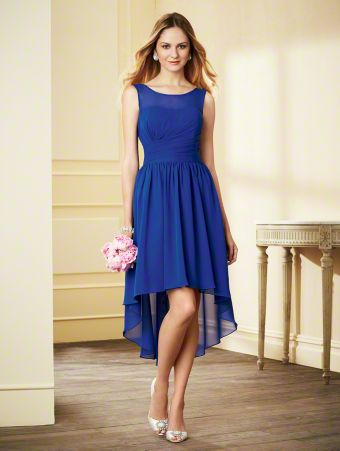 A Chiffon Bridesmaid Dress with a Hi-Low A-Line Skirt, Fitted and Shirred Bodice, Illusion Yoke over Scooped Neckline, and Tank-Style Straps