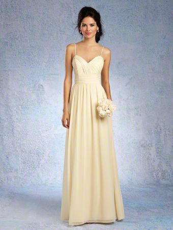 A Chiffon Bridesmaid Dress with a Floor-Length A-Line Skirt, Draped Bodice, Gathered Waist, and Sweetheart Neckline with Spaghetti Straps