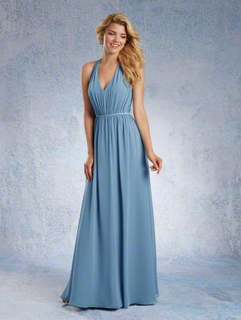 A Long Chiffon Bridesmaid Dress with an A-Line Skirt, Draped Bodice with Back Bow Detail, Thin Satin Waistband, and Draped Halter V-Neckline