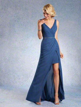 A Chiffon Bridesmaid Dress with an Asymmetric Split-Front Floor-Length Skirt, Beaded Waistline, and Sleeveless, Mirroring V-Shaped Necklines