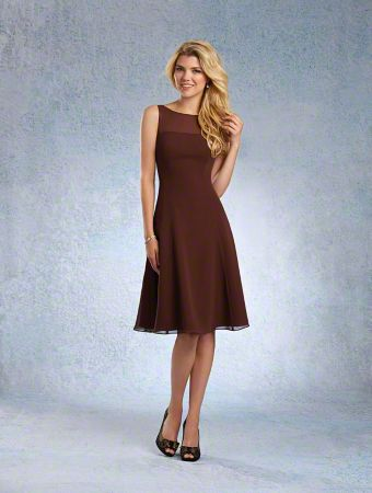 A Short Chiffon Bridesmaid Dress with A-Line Silhouette, Fitted Bodice, Princess Line Waist, and Strapless, Sheer Yoke with Bateau Neckline
