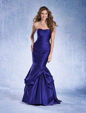 A Strapless, Full Length, Fit And Flare Style, Long Bridesmaid Dress With A Pick Up Skirt And Floral Details.