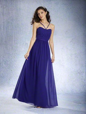A Full Length, A-Line Style, Long Bridesmaid Dress With A Sleeveless Neckline, Thin V-Shaped Straps And A Gathered Skirt.